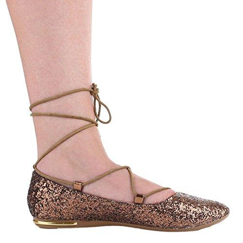 Damen Schuhe, 2305-BL, BALLERINAS GLITTER SCHNÜR Bronze