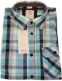 S.Oliver - chemise à carreaux bleu - manches courtes - Taille M