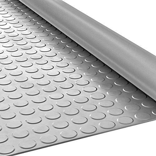ANRO Gummimatte Schutzmatte Noppenmatte Bodenmatte Noppen Geruchsarm Premium Gummiläufer 100cm Breit 3mm stark Grau 50 x 100cm