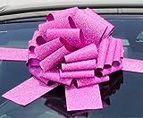 Nœud géant pour voiture (30,5cm) + 3mètres de ruban Pour voitures, motos, Grands anniversaires et cadeaux de Noël–Rose à paillettes