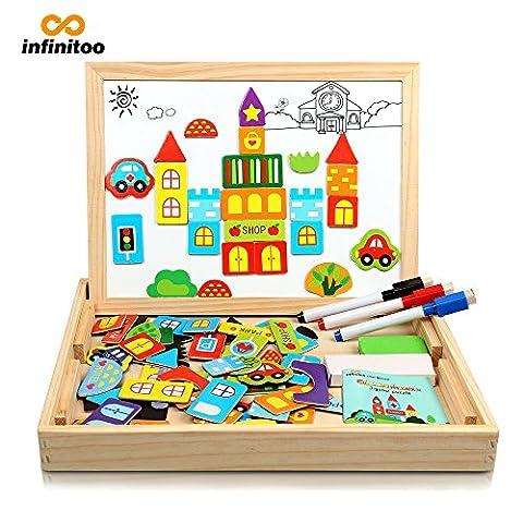 Magnetisches Holzpuzzle | Infinitoo Puzzle aus Holz | Spielzeug Legespiel mit Verkehrs-&Gebäudeformen Bunten Teilen | Lernspiel Für Kinder Ab 3 Jahre | Toy Geschenke Lernstoff ,Intelligentes Spielzeug mit Thema Stadt