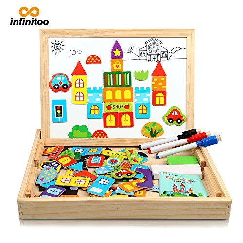 Preisvergleich Produktbild Magnetisches Holzpuzzle | Infinitoo Puzzle aus Holz | Spielzeug Legespiel mit 70 Bunten Teilen in Verkehrsmittelsformen | Lernspiel Für Kinder Ab 3 Jahre | Toy Geschenke Lernstoff ,Intelligentes Spielzeug mit Thema Stadt