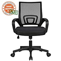 Yaheetech Executive Desk Chair Adjustable and Swivel Home Office Chair Mid-Back with Lumbar Support