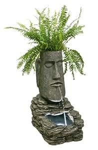 Fontana solare a forma di Moai (scultura dell'Isola di Pasqua) con Fioriera e Luci a LED