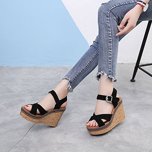 Estate Sandali Sandali di estate delle donne di 11 cm Sandali selvaggi selvatici selvaggi comodi delle donne sandali coreani di modo Colore / formato facoltativo Nero