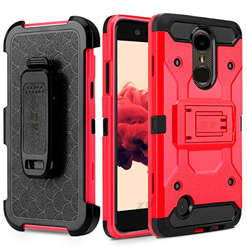 atibel LG K10(2018)/LG K30xt410Heavy Duty Hybrid Seite Ständer Schutzhülle mit Holster Clip & gehärtetem Glas Displayschutzfolie, Rot ()