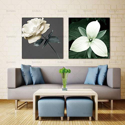 YCOLLC Wandkunst Bild Leinwand Gemälde 2 Panels Leinwand Foto Drucke Blumen Wanddekorationen Kunstwerk Giclee Gemälde Kein Rahmen -