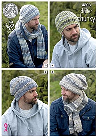 King Cole Mens Chunky Knitting Pattern - Slouchy or Ribbed Hats & Scarf Winter Accessories (4608) by King Cole