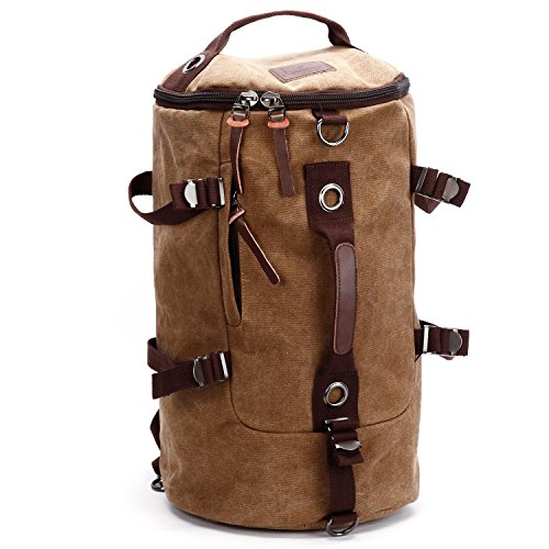 Men Vintage Canvas Backpack Rucksack Laptop Shoulder Outdoor Duffle Bag (Coffee) (Bag Duffle Laptop)