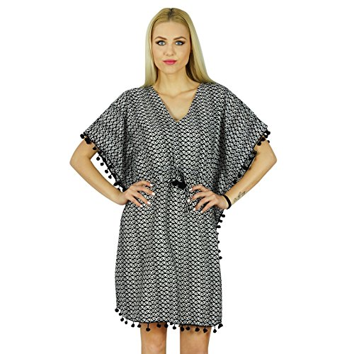 Lace Kaftan (Bimba Frauen Kurz Individuelle Kaftan mit Pom Pom Lace Cotton Kaftan Coverup Kleid)
