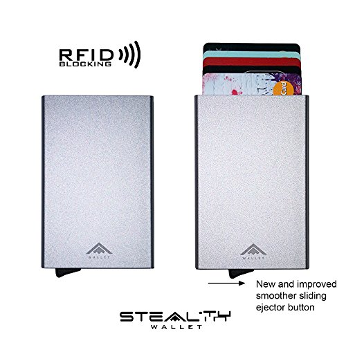Aluminium RFID Blocking Credit Card Holder Ejector Wallet by STEALTH [IMPROVED 2017 MODEL] (Silver)