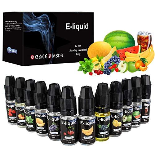 E Liquids 12 X 10ml, E-liquids ohne Nikotin, 12 Aromen E-Zigaretten Liquid Set 50PG/50VG Refill Electronic Cigarette, für E Zigaretten/Elektrische Zigarette/E Shisha (MEHRWEG). ...