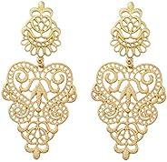 Peony.T Women's Bohemian Filigree Chandelier Hollow Lace Pattern Statement Dangle Earrings in Gold Color (