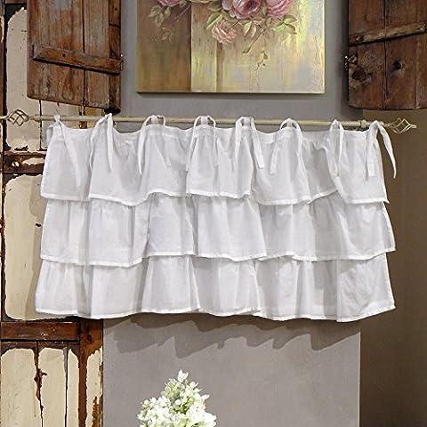 Vorhang Gardine Scheibengardine Bistrogardine mit drei Rüschen Landhaus Shabby Chic - Rüsche Volant - 130x60 - Weiß - 100%