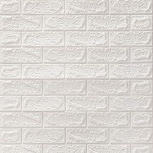 DTC (6 Stück) 77 x 70 cm 3D Selbstklebend Tapete Wasserfest Ziegel Steinoptik Wandtattoo Wandpaneele Wandaufkleber Anti-Kollision Möbelfolie für Schlafzimmer Wohnzimmer Hintergrund TV Decor (Weiß)
