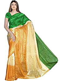 Bollywood Sari Kleid Tricolor Grün Gold Orange CA127