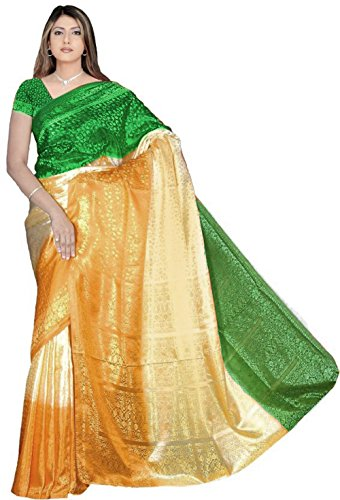 Bollywood Fashion Sari Stoff Abendkleid Tricolor Grün Gold Orange CA127
