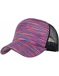 HLHN Unisex Baseball Cap, Colorful Stripe Snapback Hat Sun Trucker Hat Mesh Adjustable Flat Women Men Outdoor Sport
