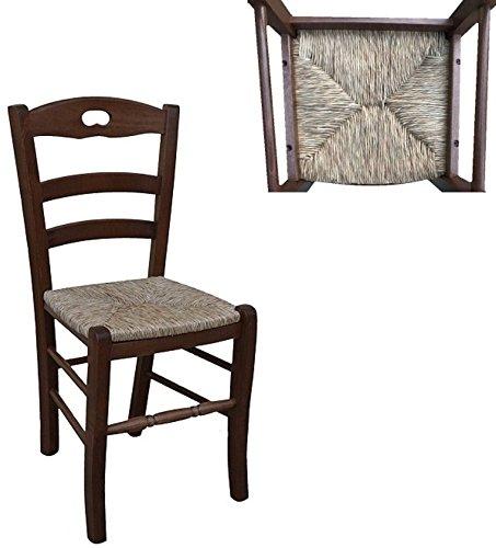 Okaffarefatto maddaloni sedia in legno massello seduta in paglia ristorante casa già montata legno noce scuro modello lory con poggiapiedi arrotondato con nuovo sistema di ancoraggio a viti.