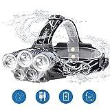 BETECK Stirnlampe, Superheller LED Kopflampe 15000LM 5 LED 6 Modi Wasserdicht, USB Wiederaufladbare Einstelllbare Eingebauter Akku mit Warnleuchte,Stirnleuchte Für Retten/Camping/Angeln/Klettern
