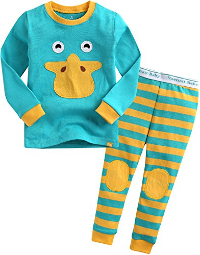 Vaenait Baby Kinder Jungen Nachtwaesche Schlafanzug-Top Bottom 2 Stueck Set Tie Ducky XL