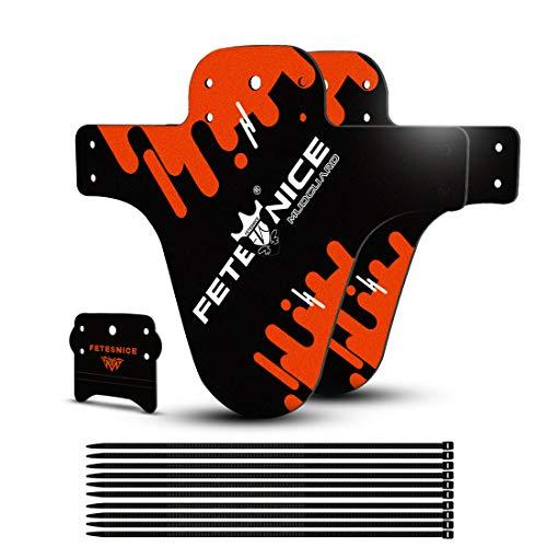 FETESNICE Funda de protección para Guardabarros de Bici contra Salpicaduras Mud Guard Plus 26 650B 27,5 29 MTB (2 Piezas), Naranja