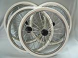 4x Kinderwagenräder 300/350mm Metallspeichenräder Nostalgieräder Räder NEU