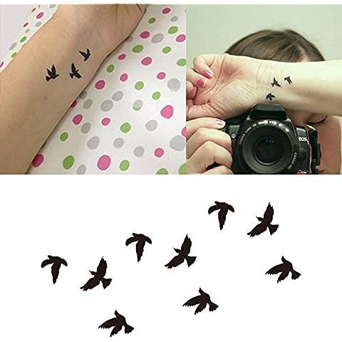 Vollter 10pcs Bella fresca Tatuaggio dell'uccello / Lettera Sticker impermeabile tatuaggi temporanei Body Art
