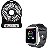 Raptas® A1 Sport Bluetooth Smart Watch With Camera SIM+TF Card Slo And Mini Portable USB Rechargeable Fan With LED Light