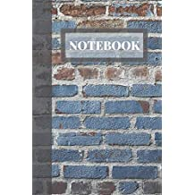 Notebook: Cool Blue and Black brick styled Notebook Blank Lined Journal