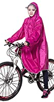 Icegrey Adult Lightweight PVC Long Size Hooded Raincoat Bicycle Cycling Rain Cape Poncho With Sleeves Rose Red 3XL