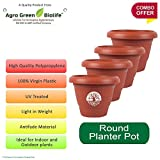 #8: Green and Pure - Premium Quality 14 Inch Round Flower Planter | Planter Pot | Plant Containers | Plastic Pot Pack of 4 - Brown Colour