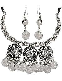 Chandrika Pearls Navratri Garba Dandia Tribal Design Boho Pattern Oxidised Jewellery Set For Girls & Women - B078Y8QJW7