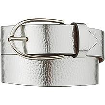 d4d63b79566b VANZETTI Damen Leder Gürtel Rindleder Metallic Damengürtel silber 30 mm  Ledergürtel