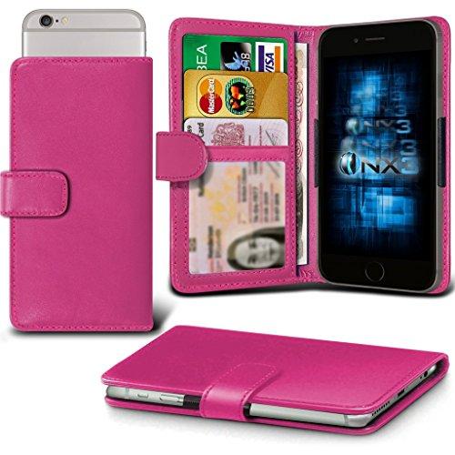 (Hot Pink) Oppo Joy Plus Hülle Abdeckung Cover Case schutzhülle Tasche Verstellbarer Feder Mappe Identifikation-Kartenhalter-Kasten-Abdeckung ONX3