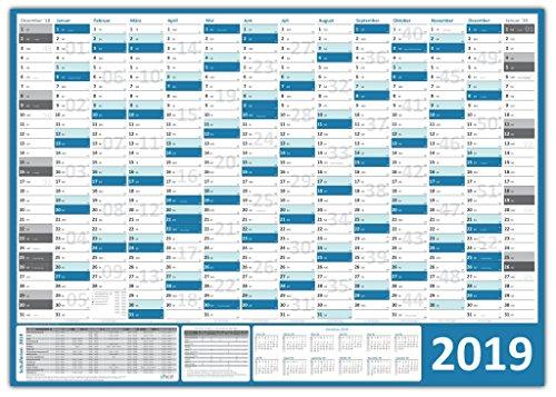 XXL Wandkalender / Wandplaner 2019 (blau) gerollt / DIN A0 Format (1189 x 841 mm) mit 14 Monaten, kompletter Jahresvorschau 2020 und Ferientermine/Feiertage aller Bundesländer