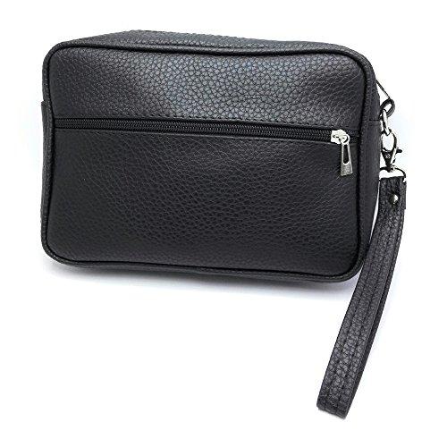 MYB Pochette nera in similpelle con cinturino da polso - per uomo e donna