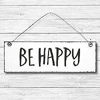 Be happy - Dekoschild Türschild Wandschild aus Holz 10x30cm - Holzdeko Holzbild Deko Schild zur Dekoration Zuhause im Büro auch perfekt als Geschenk Mitbringsel zum Geburtstag Hochzeit Weihnachten für Familie Freundin Mutter Schwester Tochter