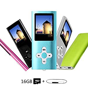 Btopllc 16 GB Lettore MP3,Lettore MP4,Lettore musicale,Lettore MP3/MP4 LCD da 1,7 pollici portatile,Mini porta USB Cavo,Hi-Fi Lettore musicale MP3, Registratore vocale Lettore multimediale - Blu