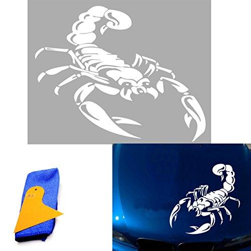 """ABY (Lot de 1voiture Scorpion en vinyle avec grattoir Installer et chiffon de nettoyage pour voiture van fenêtre capuche Casque, toit de voiture, moteur, mur, voiture pneu cover-24""""X 50cm (Blanc)"""