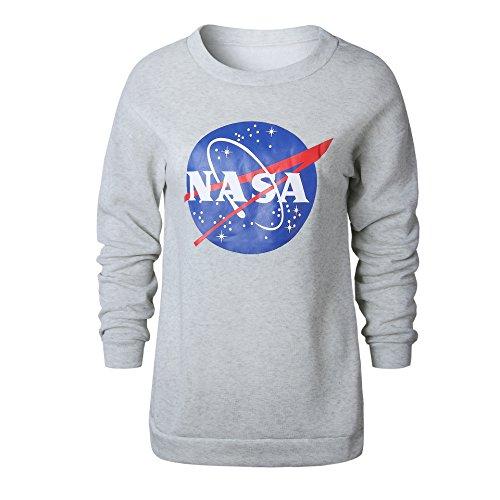 Suelta de manga larga de cuello redondo ocasional de la NASA patron...