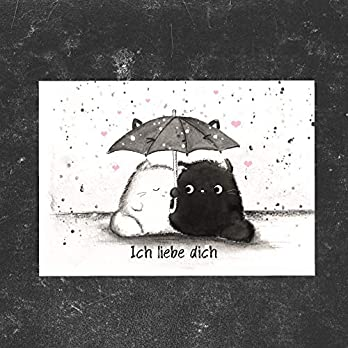 TinyTami Katzen Postkarte Kater Moo Ich liebe dich Valentinstag Grußkarte Liebe Katze Jahrestag