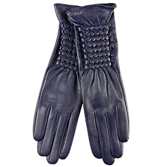 WARMEN Design Women Nappa Leather Elbow Long Gloves Tip for Winter Fur Overcoat (M, Cyan)