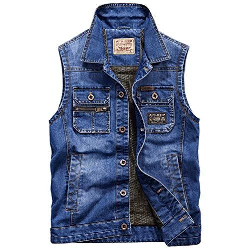 Männer im Freien Taktische atmungsaktive Mesh-Weste ärmellose Jacke beiläufige dünne männliche Weste Mantel Blue 4XL ()