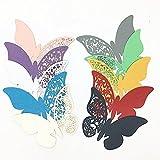 ElecMotive 100 Stück in 10 Farbe 3D Schmetterlinge Platzkarten Tischkarten Wandsticker für Geburtstag Hochzeit Party Haus Deco