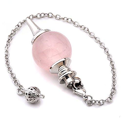 JOVIVI Pendule Esoterisme Radiesthésie Divination Rod Agate Pierres Chakra Pendantif Combinaison Bracelet (Quartz Rose Naturel)