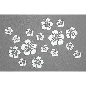 WANDfee® Wandtattoo 16 Hibiskus Blüten AC0610202 Größe Ø 7-15 cm, 2 x Ø 15 cm, 4 x Ø 11 cm, 10 x Ø 7 cm Farbe weiß weiß