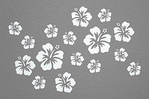 WANDfee® Wandtattoo 16 Hibiskus Blüten AC0610202 Größe Ø 7 - 15 cm, 2 x Ø 15 cm, 4 x Ø 11 cm, 10 x Ø 7 cm Farbe weiß weiß -