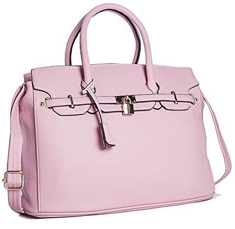 Big Handbag Shop Womens Faux Leather Designer Inspired Tote Shoulder Bag (6644 Baby Pink)