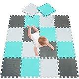 meiqicool Puzzlematte/Bodenpuzzles/Puzzlespielmatte Foam Matte.Spielmatte Schaumstoff Verriegelung Puzzle Kinderteppich. Jede Matte hat eine Größe von 30x30cm und ist 1 cm dick (Grün, Grau/weiß)